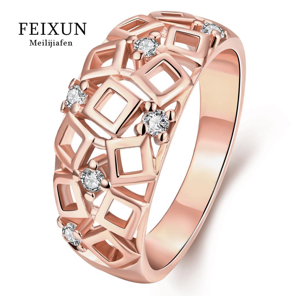 High Quality Bague Ringen Voor Vrouwen Stainless Steel Rings For Women With Zircon Rose Gold Plated Round Trendy Ring R327-B-8(China (Mainland))