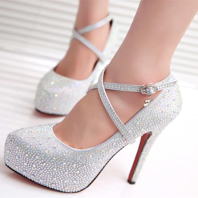 Новый 2015 женщин на высоких каблуках выпускного вечера свадебные туфли леди кристалл платформы серебро блеск горный хрусталь свадебная обувь тонкий каблук ну вечеринку насос
