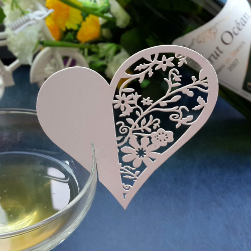 Event Party Supplies 20pcs/set Love Heart Blank Name Place Table Card Wine Glass Wedding Event Laser Cut Flower decoupage(China (Mainland))