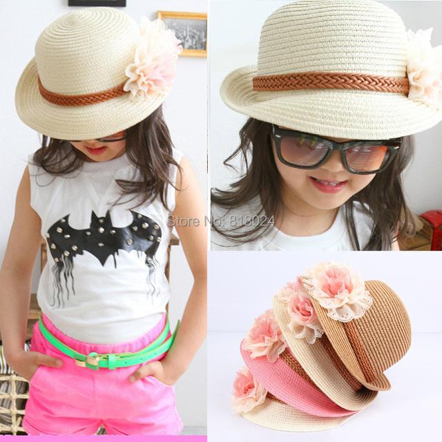 Лето девочки-младенцы цветок украшение соломенные шляпы шапки сплошной Chapeu де прайя корейский дети флоппи-бей пляж шляпа 4 цвета