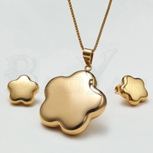 Gold  Plated Flower Stainless Steel Discount Jewelry Sets
