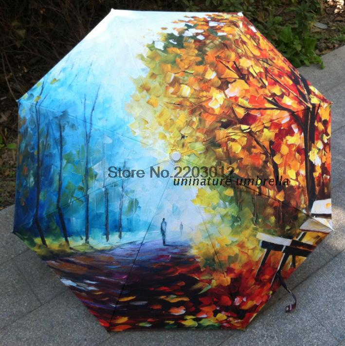 2015 Free shipping OTraditional Chinese Oil Painting Umbrella For women Anti-uv 3 Folding Animal Umbrellas late autumn(China (Mainland))