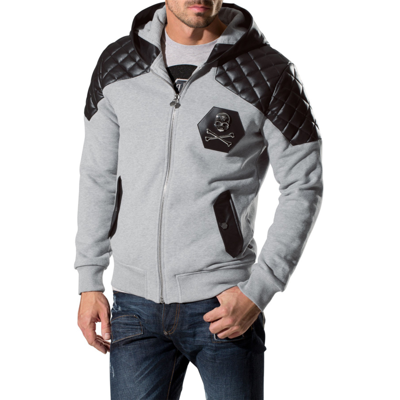 Hot Selling cotton hoodies long sleeve zip-up fastening silver-tone skull sportswear for cool men fashion 2015 autumn winter