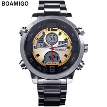 2016 Men military sports watches Dual Time Quartz  Digital Watch colourful  LED light  full steel wristwatches relogio masculino