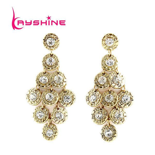 Brincos Vintage Luxury Antique Gold Color Grape Shape Earrings Boucles D'oreille Women With Created Crystal Wholesale