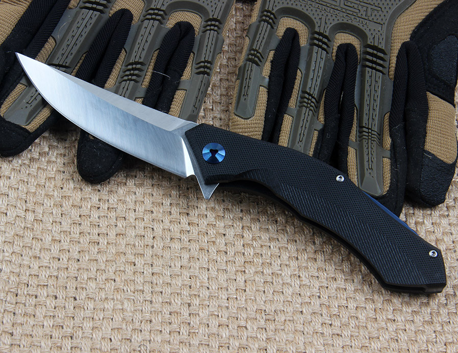 Buy WTT Combat Pocket Folding Knife Blue Moon D2 Blade Bearing Utility Tactical Survival EDC Knives Outdoor Hunting Camping Tools cheap
