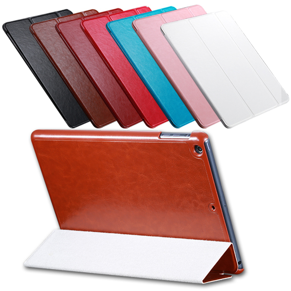 Luxury Crazy Horse Leather Case For iPad5 Air Flip Slim Stand Retro Accessories Smart Sleep Wake Cover for Apple ipad Air / 5(China (Mainland))