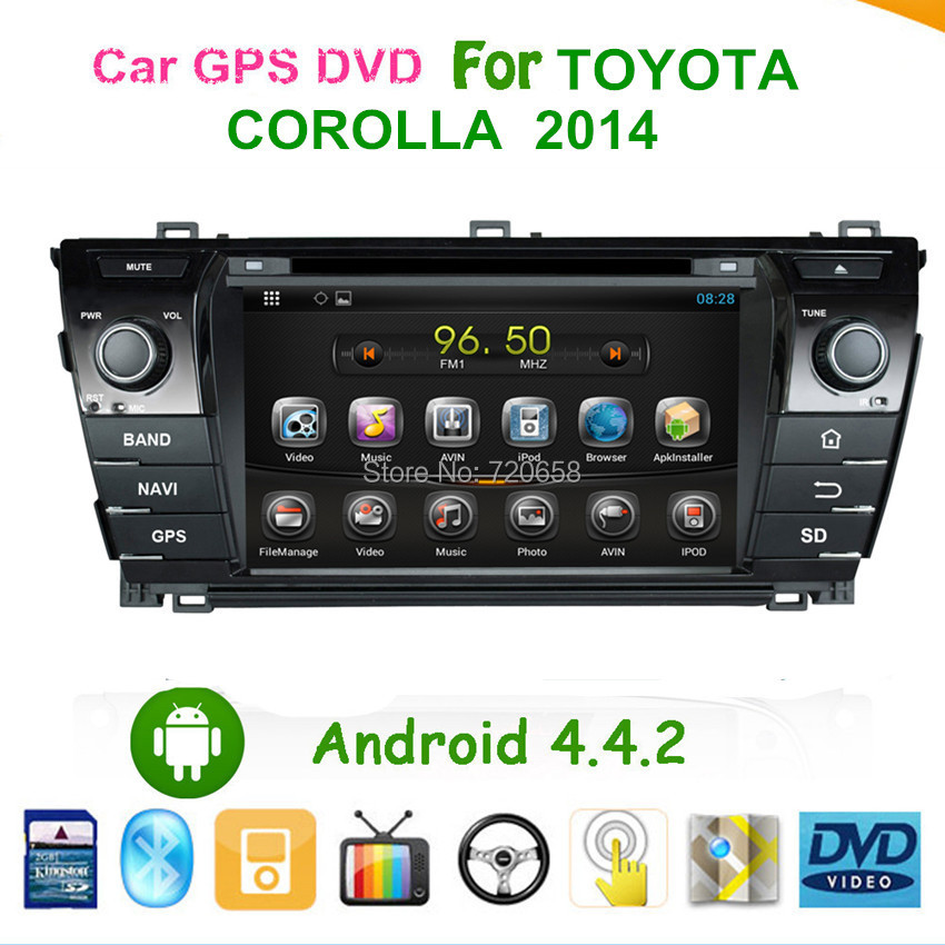 """7"""" Capacitive Touch Screen Android 4.4.2 Car PC GPS For Toyota Corolla 2014 Support ISDB-T DVB-T(MPEG4) DVR OBD Built in WiFi 3G(China (Mainland))"""