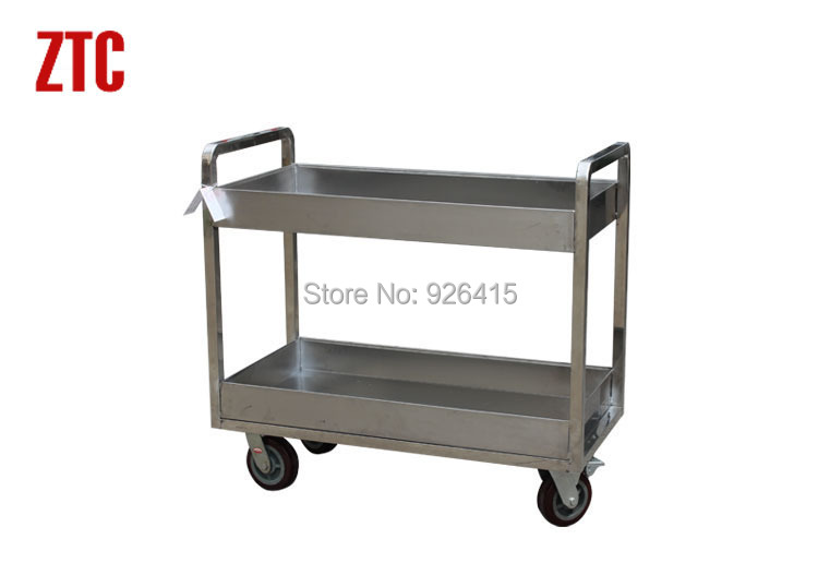 High quality hotel stainless steel trolley,double layers food serving cart,mobile catering handcart,kitchen utility cart(China (Mainland))