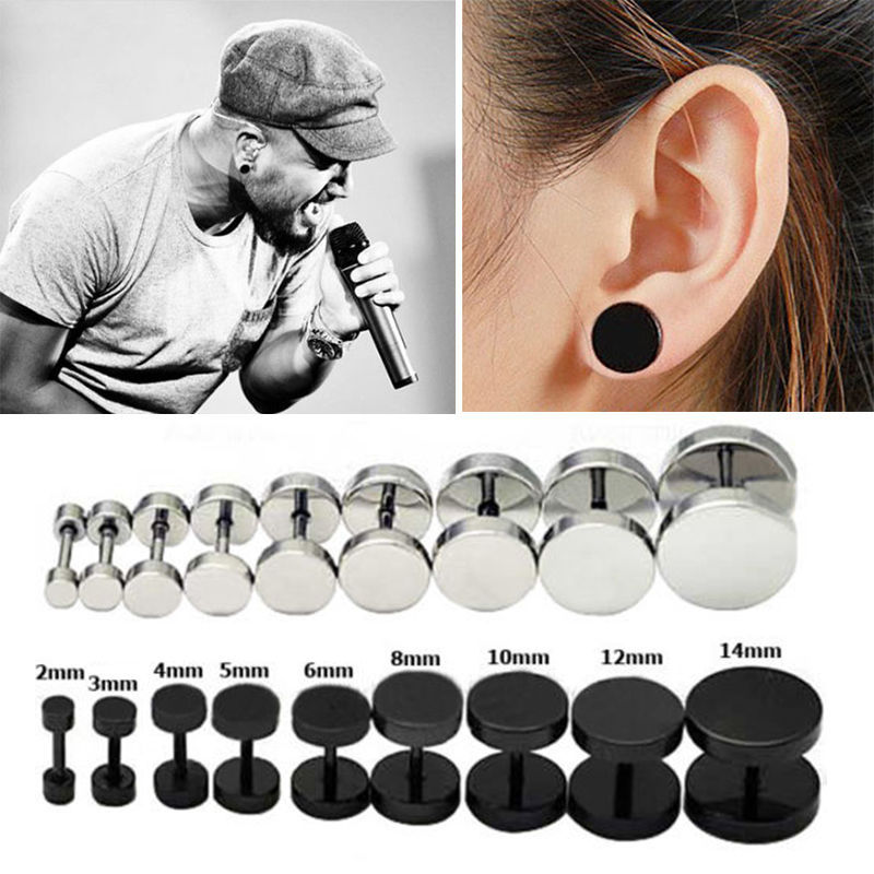 1Pair Men's Barbel Punk Gothic Stud Earrings Fashion Brand 7Sizes Black Silver Stainless Steel Earrings For Men(China (Mainland))