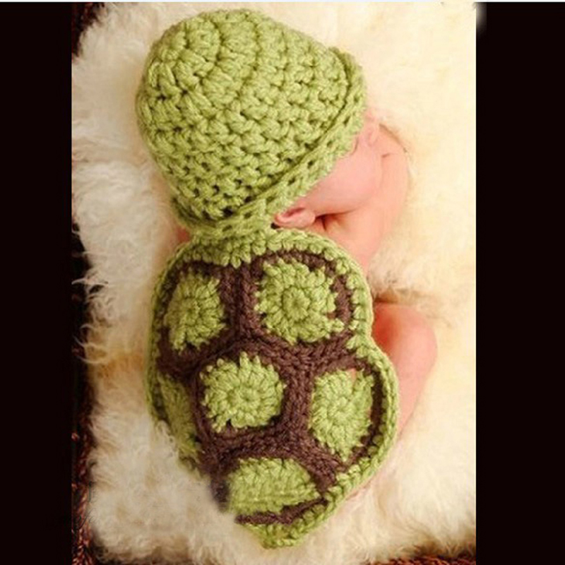 Tortoise Shape Newborn Baby Boys Girls Photography Cartoon Props Cap Set,Infant Crochet Cloth Knitted Hats For Birthday New Year(China (Mainland))