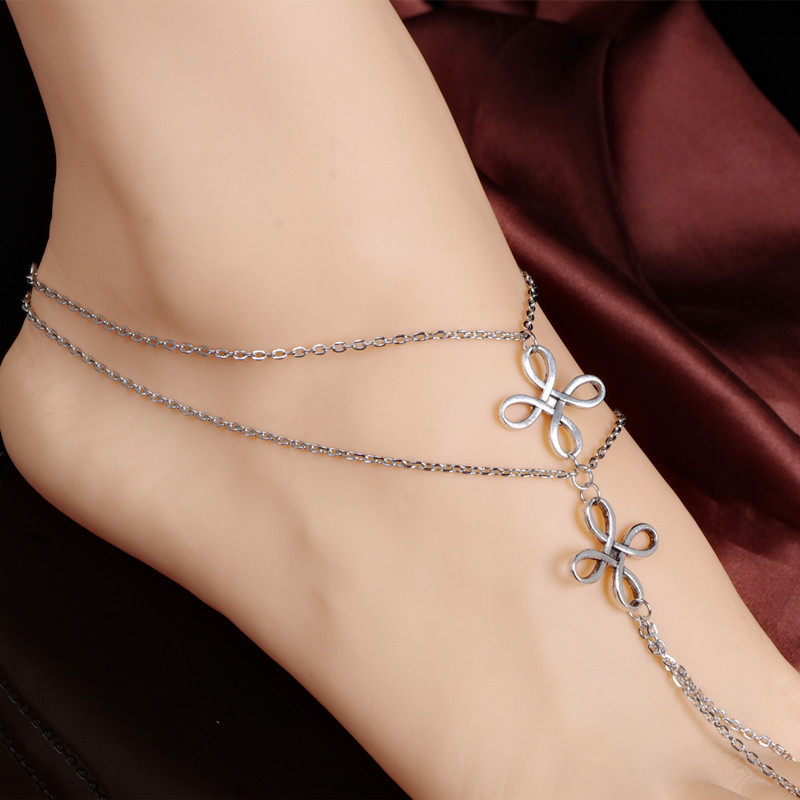 Newest Arrival Fashion Unique Simple Anklets Jewelry Doble Four-leaf Flower Shape Zinc Alloy Turkish Anklets For Women BW627