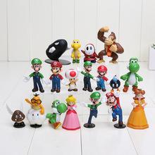 500set/lot new Super Mario Bros 18 pcs PVC Figure topper Super Mario nds Luigi Peach yoshi DHL free shipping(China (Mainland))