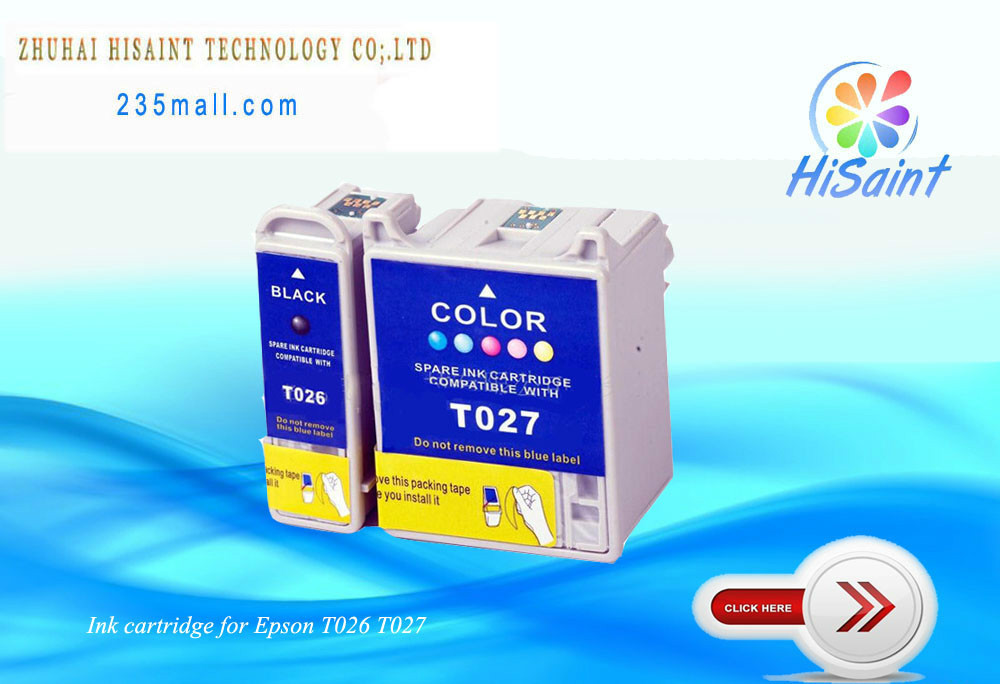 Compatible for Epson T026 T027 ink cartridge for Epson PHOTO810 / 820/ 830 / 830U / 925 /935 laser printer t026/t027(China (Mainland))