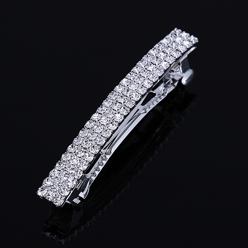 2017 Hot Sale Promotion Classic Barrettes Lovely 3 Row Hair Barrette Silver Plated Rhinestone Jeweled Clip Pin For Women(China (Mainland))