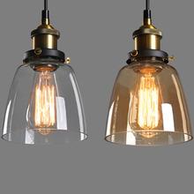 Amber Glass Shade Ceiling Chandelier Fitting Vintage/Modern Retro Pendant Lamp Light Edison Courtyard Warm White Bulb Lamp(China (Mainland))