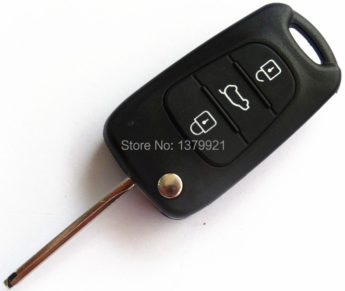 Replace 3 Button Flip Key Shell for KIA K2 K5 Remote Case Fob key Uncut