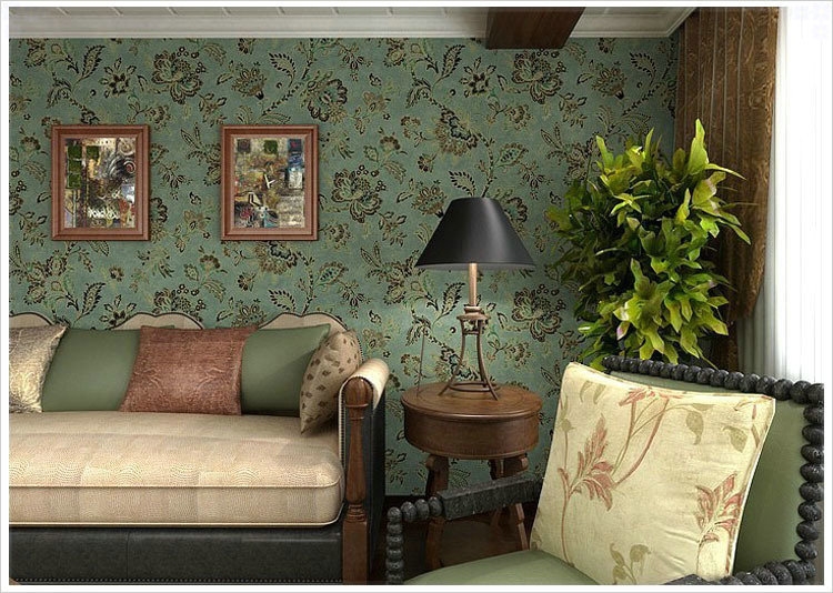 Pvc Country Style Vintage Dark Green Background Wall