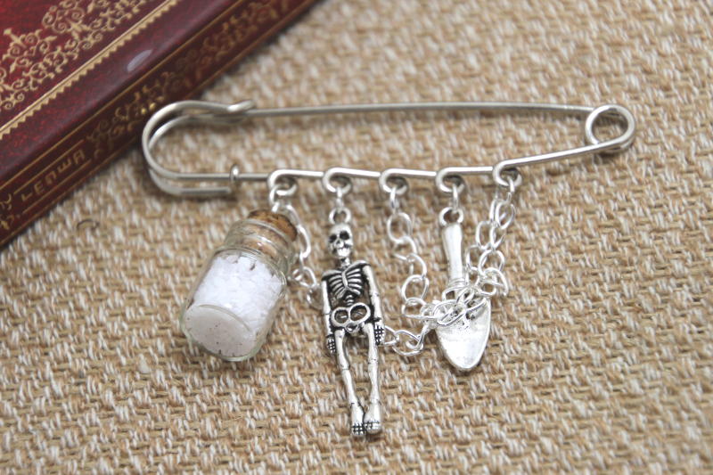 12pcs Supernatural inspired salt and burn themed charm with chain font b kilt b font pin