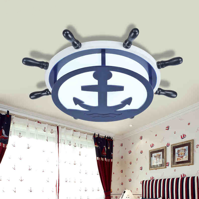 The new Mediterranean rudder LED children room to absorb dome light The boy bedroom lamps shield an eye creative cartoon art(China (Mainland))