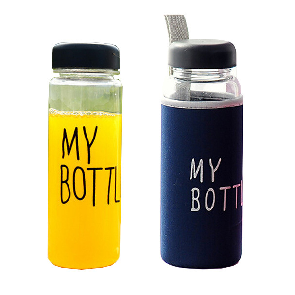water glass my bottle 500ml Borosilicate glass cup tea lemon juice tumbler travel sport mug with 4 color bag free shipping F-157(China (Mainland))