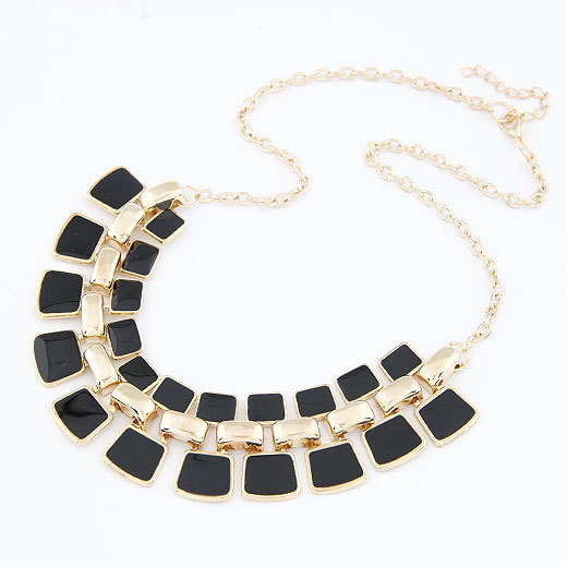 2015 New Arrival Fashion Jewelry Trendy Women Necklaces & Pendants Link Chain Statement Necklace Alloy Enamel Square Pendant(China (Mainland))