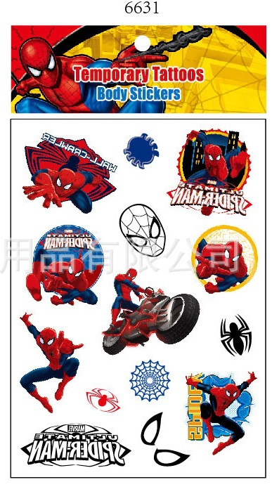 2packs boys superhero spiderman cartoon waterproof for Superhero temporary tattoos