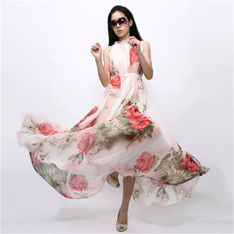 Summer Women Sexy Boho Long Maxi Dresses Casual Floral