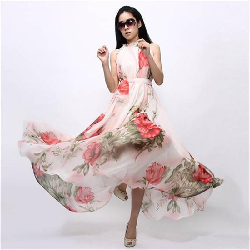 Summer Women Sexy Boho Long Maxi Dresses Casual Floral Beach Chiffon Dresses S M L New 2015(China (Mainland))
