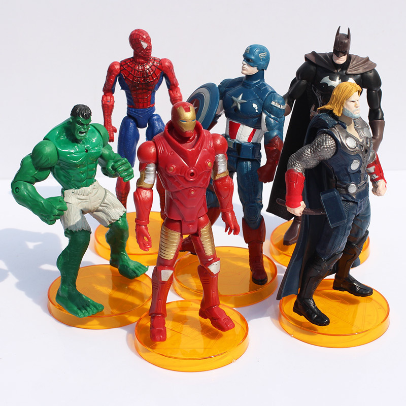 15cm 500g 6pcs/lot The Avengers doll with base Captain America Thor Batman Spiderman The hulk Iron man Action Figure Toy(China (Mainland))