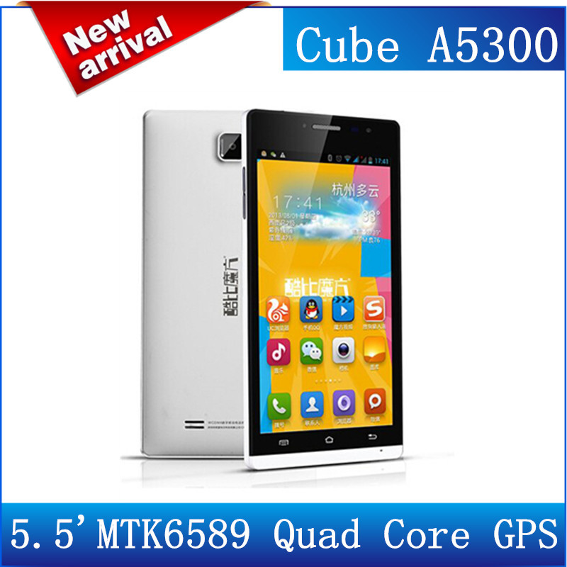 New 100% Original 5.5'' Smart Cube A5300 Talk 5H MTK6589 Quad Core 3G mobile phone 1GB 4GB Android Mobile phone OTG GPS/Reb(China (Mainland))