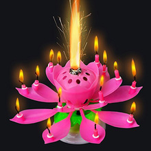 3pcs/lot Lotus Candle Musical Flower Candles Led Tea Light Lotus Birthday Candle Musical Candles Happy Birthday Rotating Lights(China (Mainland))