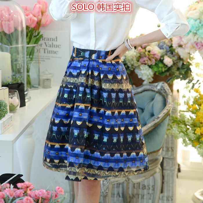 Short Promotion American Apparel Skirts Womens 2015 New Spring Korean Skirt All-match Flowery Female Fashion Show Thin Printing (China (Mainland))