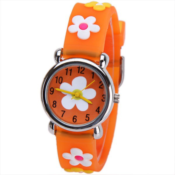 Lovely Small Flower Pattern 3D Cartoon Watch Children Orange Silicone Wrist Quartz Watch Kids Girls Clock(China (Mainland))