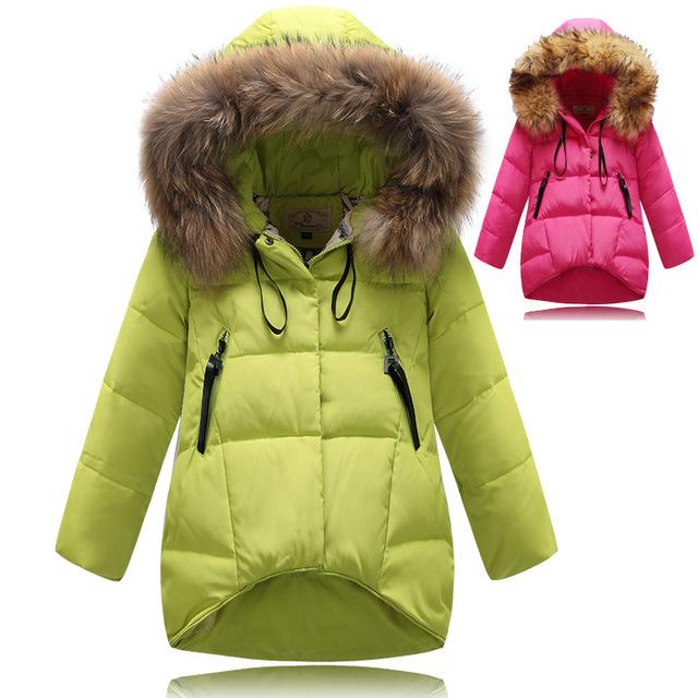 2015 мода девушки зимняя куртка утка вниз дети зимние куртки для девочек пальто с капюшоном меховой воротник детей пуховики длинные