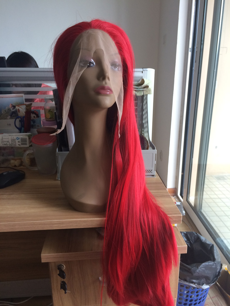 high quality bright red silky straight wig with natural parting glueless synthetic lace front wigs heat resistant fiber(China (Mainland))