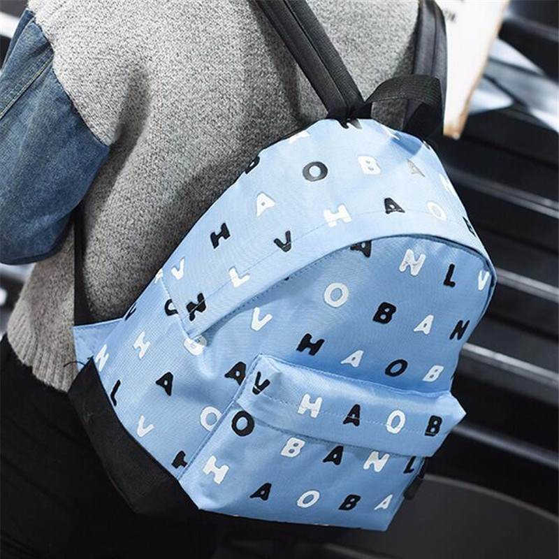 New Cute Letter Printed Backpacks Mochila Bags Canvas Student Bagpacks Large Capacity Travel Famous Brand Women Rucksack Packbag(China (Mainland))