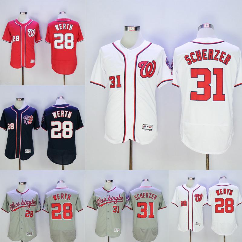 2016 New Fabric Mens Flexbase Version 28 Jayson Werth 31 Max Scherzer Jersey shirt Color Red Navy Gray White Throwback Jerseys(China (Mainland))