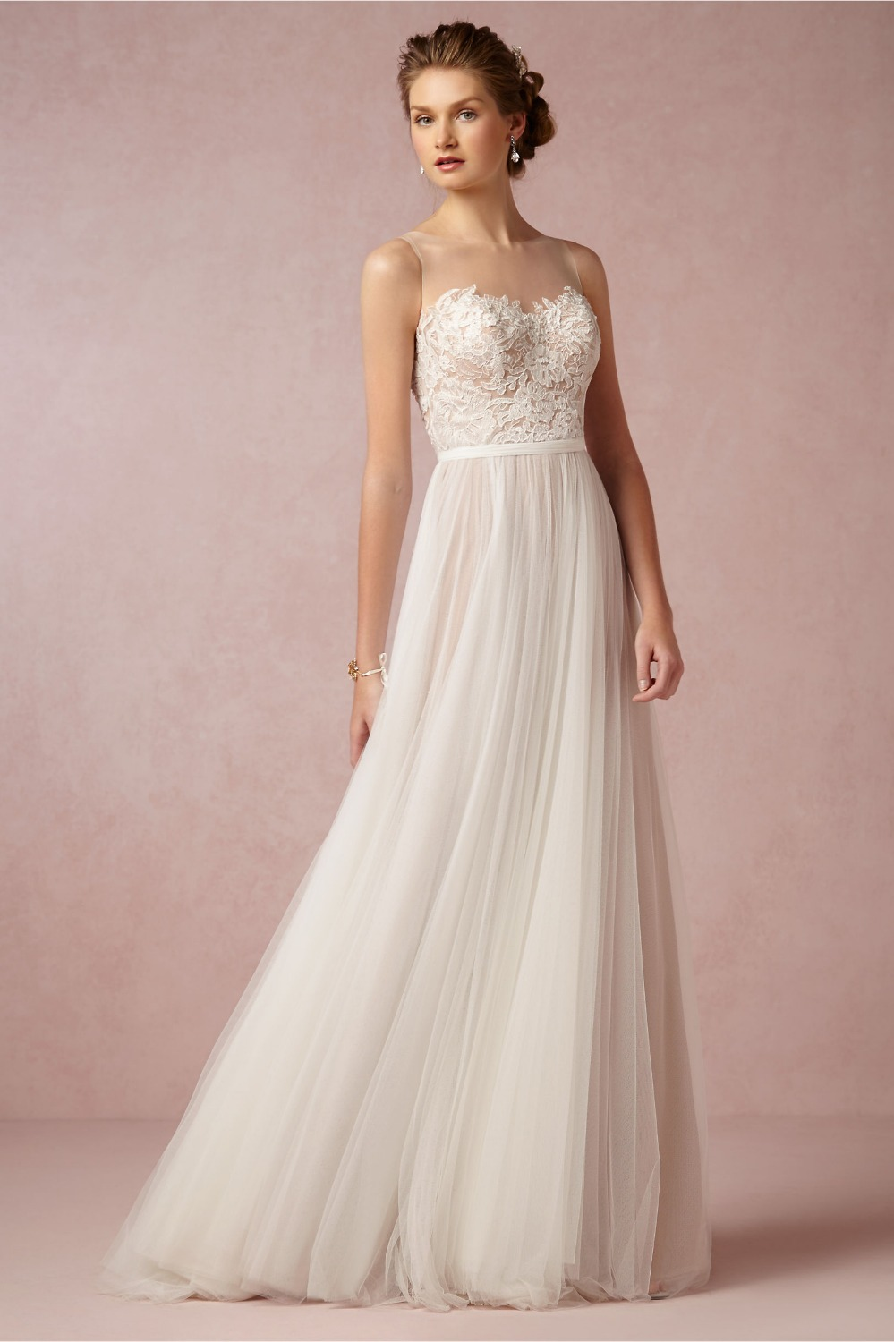 2016 new dreamy fairytale sheer illusion neck sleeveless for Wedding dresses with sheer illusion neckline