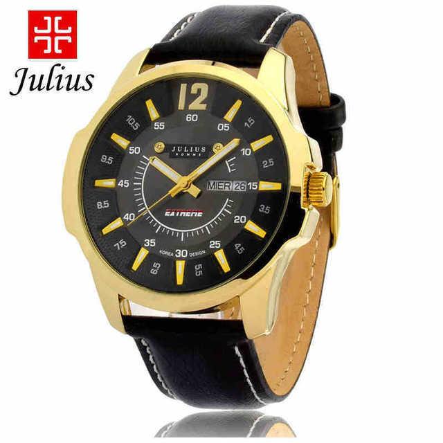 Оригинальный корейский бренд юлий часы мужские JAH-017 моде человек стильный мода платье из натуральной кожи наручные часы relojes хомбре