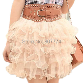Freeshipping+Wholesale 2015 New Summer Lovely Mini Lace Puffy Women/Girl Short Tulle Ball SKirts Saias Feminina 6 Colors #2009