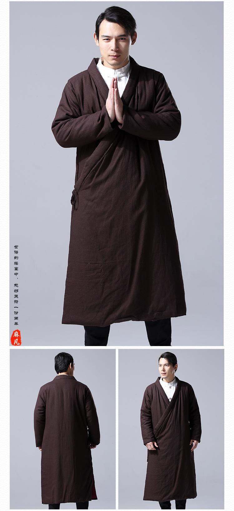 Скидки на Мужчины зимний пиджаки мужская хлопок белье китайский кунг-фу пальто мужчины хлопка мягкий свободные длинные халат случайный китайский парки куртки U05