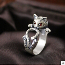 2016 nouvelle arrivée de haute qualité rétro style mignon chat Thai argent 925 sterling argent ladies'adjustable taille anneaux bijoux cadeau(China (Mainland))