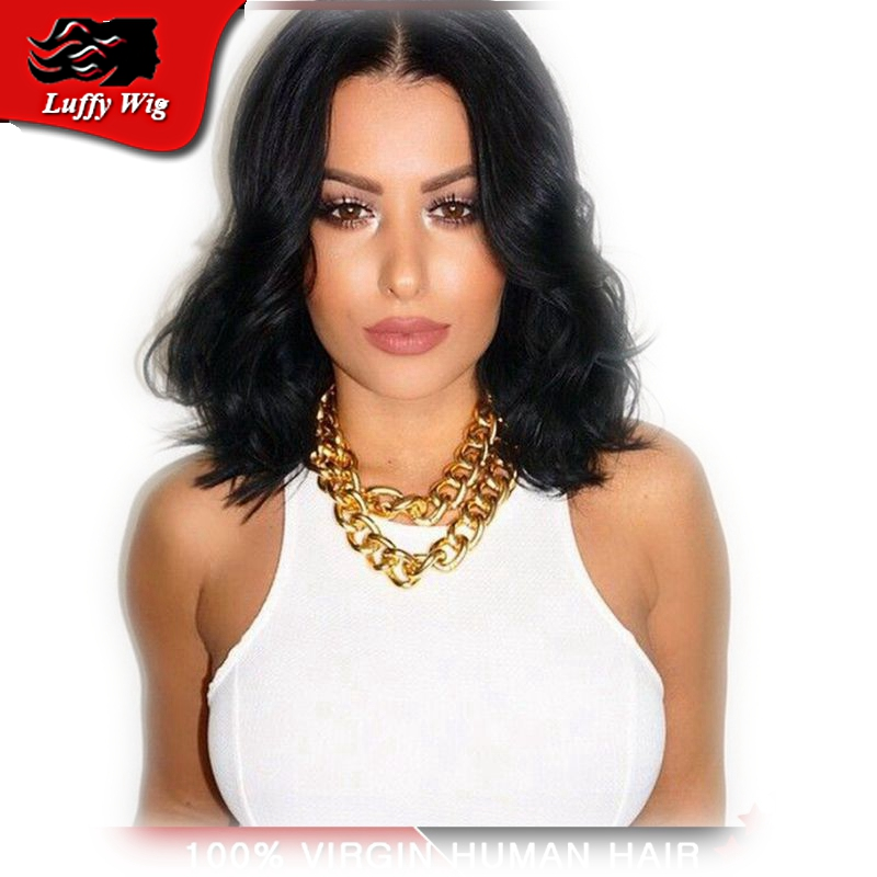 New!10''-24'' Natural wave Brazilian virgin hair lace front human hair bob wigs short full lace human hair wigs for black women