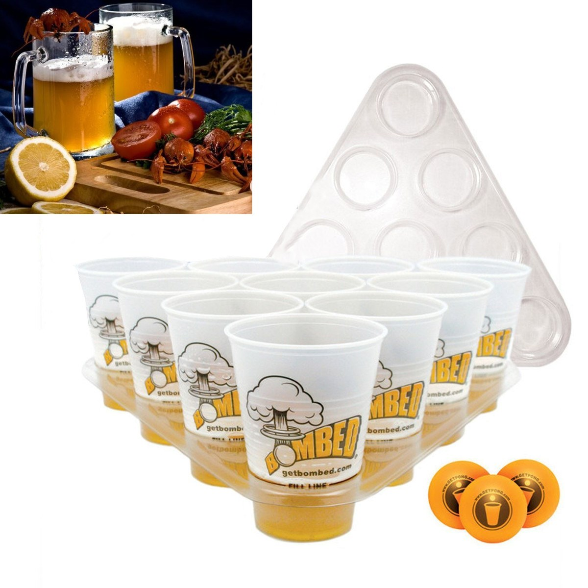 Ultimate Bombed Beer Pong Party Fun Kit 22 Cups 3 Balls For Adult Table Top Board Games Drinking Game Pub Bar BBQ Gift(China (Mainland))