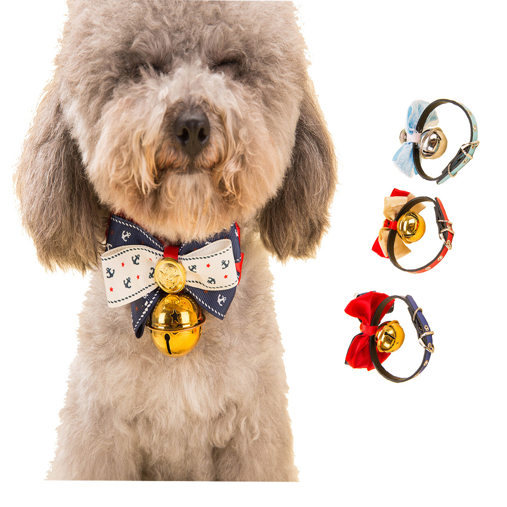 Hipidog Modern Style Dog Collar Bowknot Ties Pet Grooming Accessories Bow Tie Ring Bell Collar Bowtie Adjustable Cat Necktie(China (Mainland))