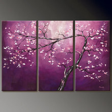 Buy Handmade Large Oil Paintings Purple Flower Canvas Modern Pictures Wall 3 Panel Art Living Room Home Decoration 16*32 inch for $44.08 in AliExpress store