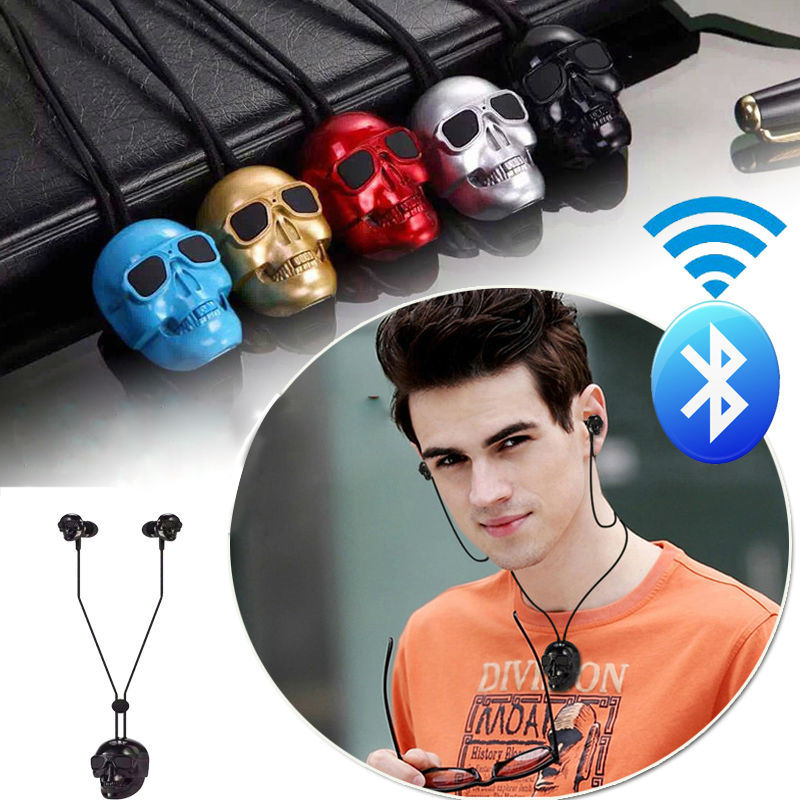 Wireless Bluetooth Fashion Skull Earphones Design Stereo Bluetooth V4.1 Metal Headset with mic Noise Hifi Sport For Smartphone(China (Mainland))