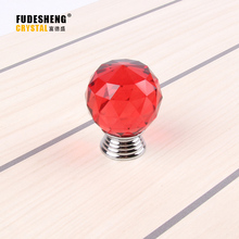 10PCS 30mm K9 Red Crystal Drawer knob handle kitchen cupboard doors and furniture accessories SJ-2001
