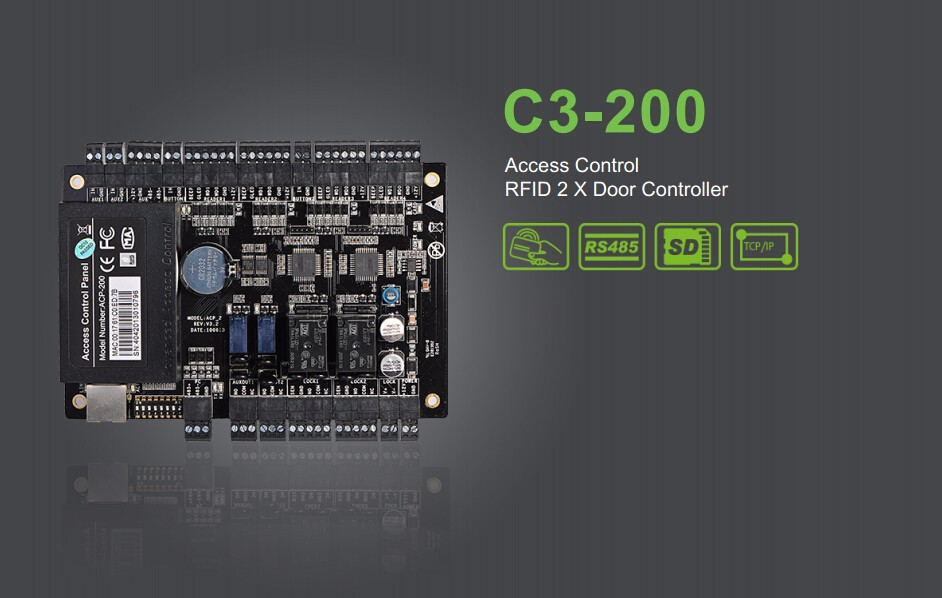 ZKsoftware C3-200 2 Door Professional RFID RFIC Card Access Control TCP/IP 485 Stocked(China (Mainland))